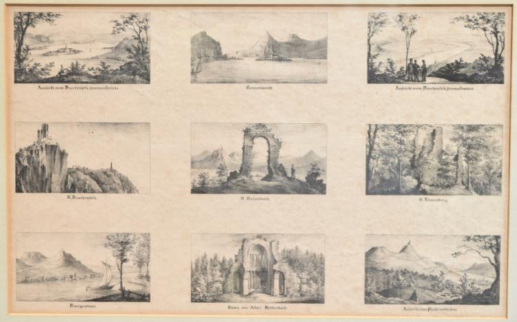 2 Steel Engravings of German Tourist sites along the Rhine. Each with 9 images