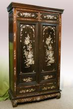 Chinese Rosewood and Mother of Pearl Inlaid Armoire