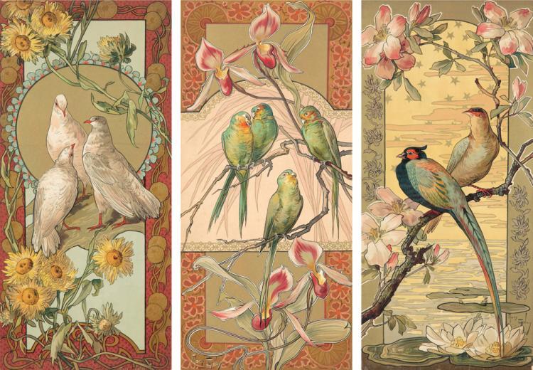 Oiseaux et Fleurs Stylisées. ca. 1896