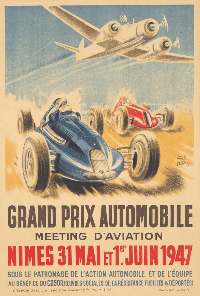 Grand Prix Automobiles/Meeting Aviation / Nimes. 1947