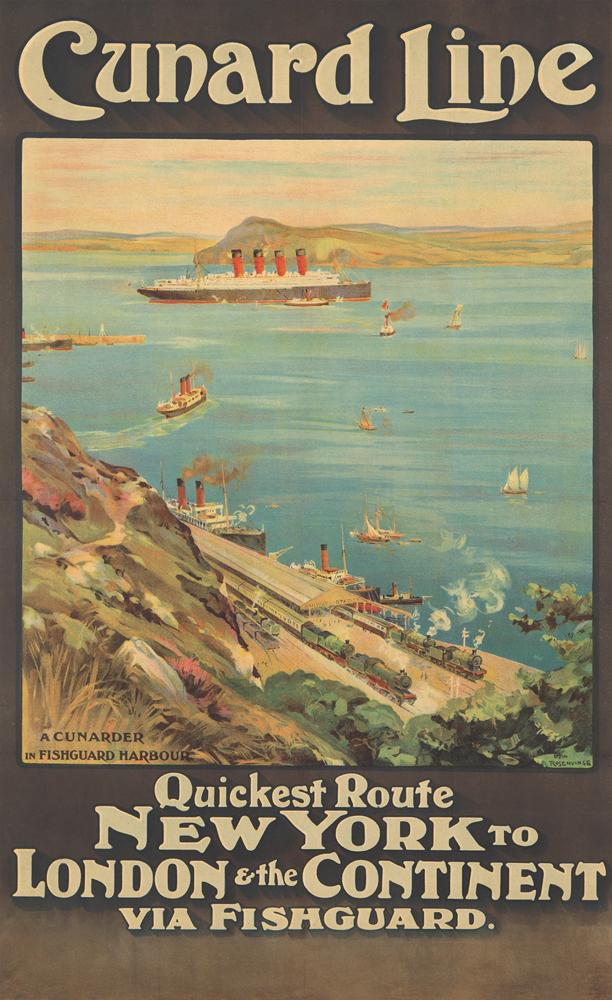 Cunard Line / New York to London. ca. 1914