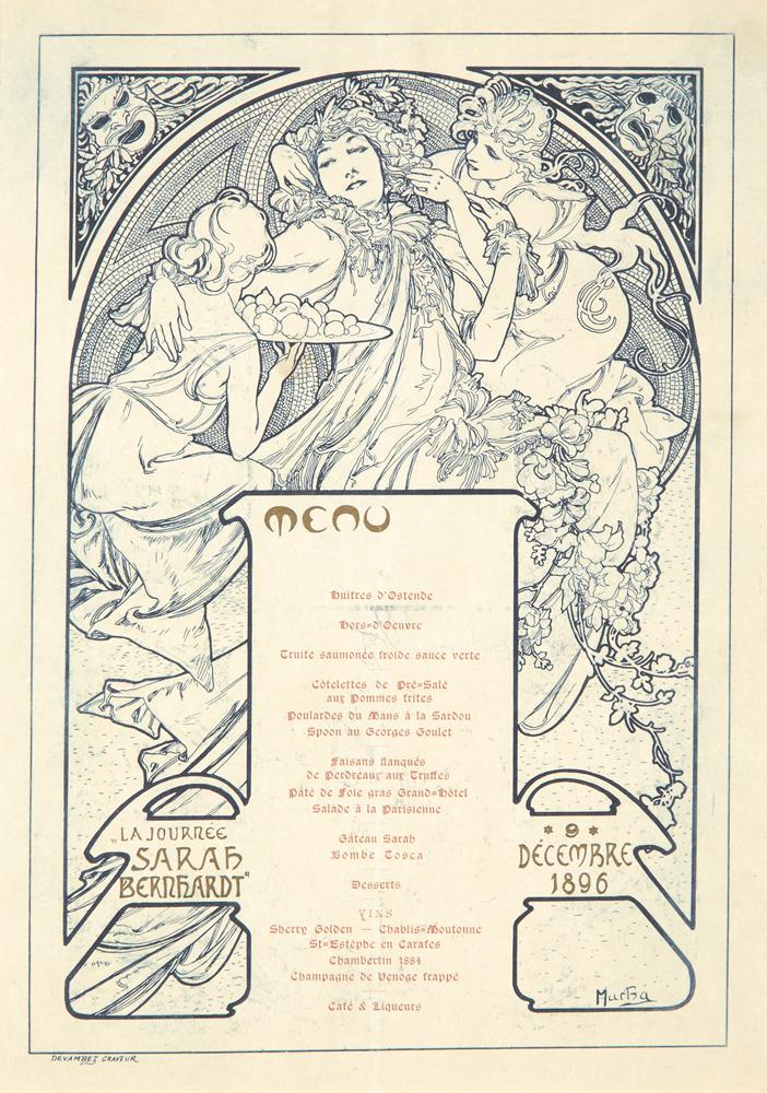 La Jounrnée Sarah Bernhardt / Menu. 1896