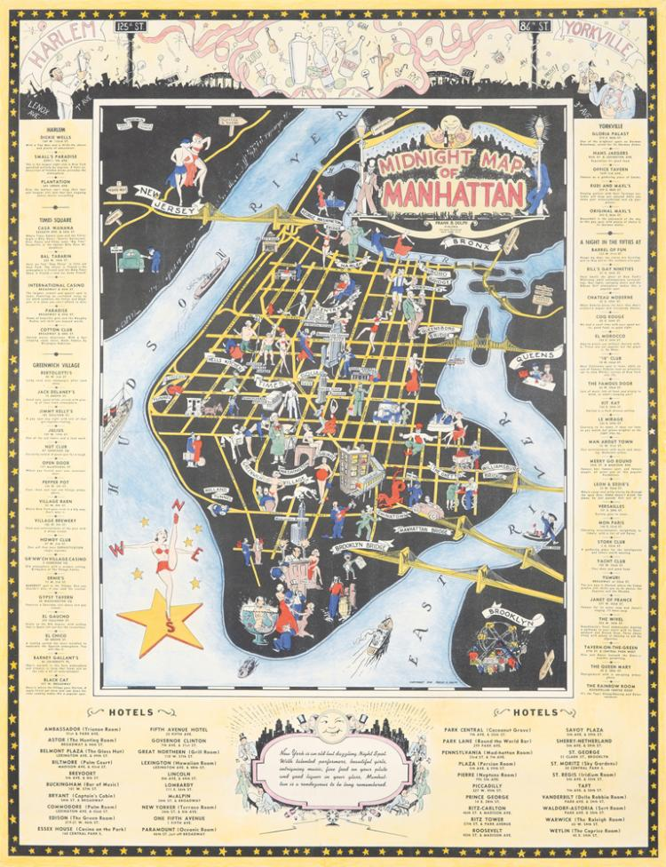 Midnight Map of Manhattan. 1938