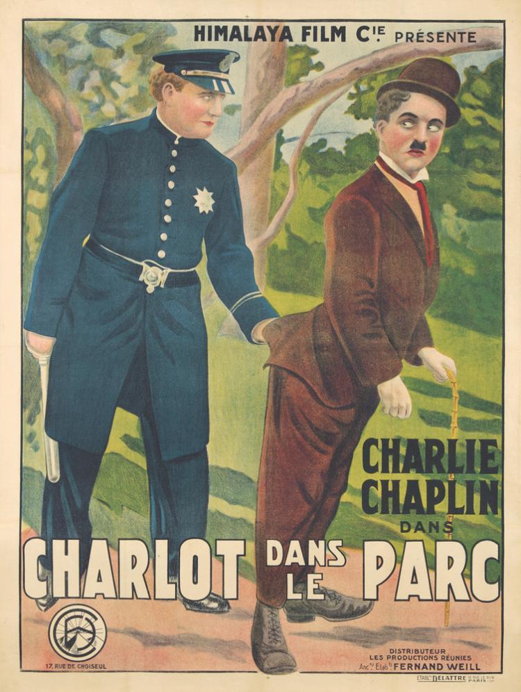 Charlie Chaplin / Charlot dans le Parc. 1915