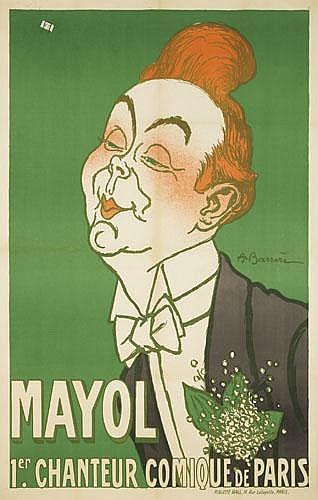 POSTER:  ADRIAN BARRERE (1877-1931) - Mayol / 1er Chanteur Comique de Paris.