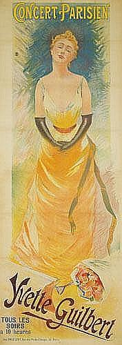 POSTER: ANDRE SINET (1867-?) - Yvette Guilbert / Concert Parisien.