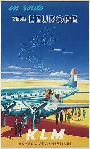 POSTER: JOOP VAN HEUSDEN (1920-) - KLM / Vers l'Europe.
