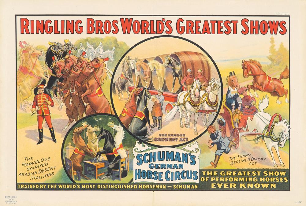 Ringling Brothers / Schuman's German Horse Circus. 1910.