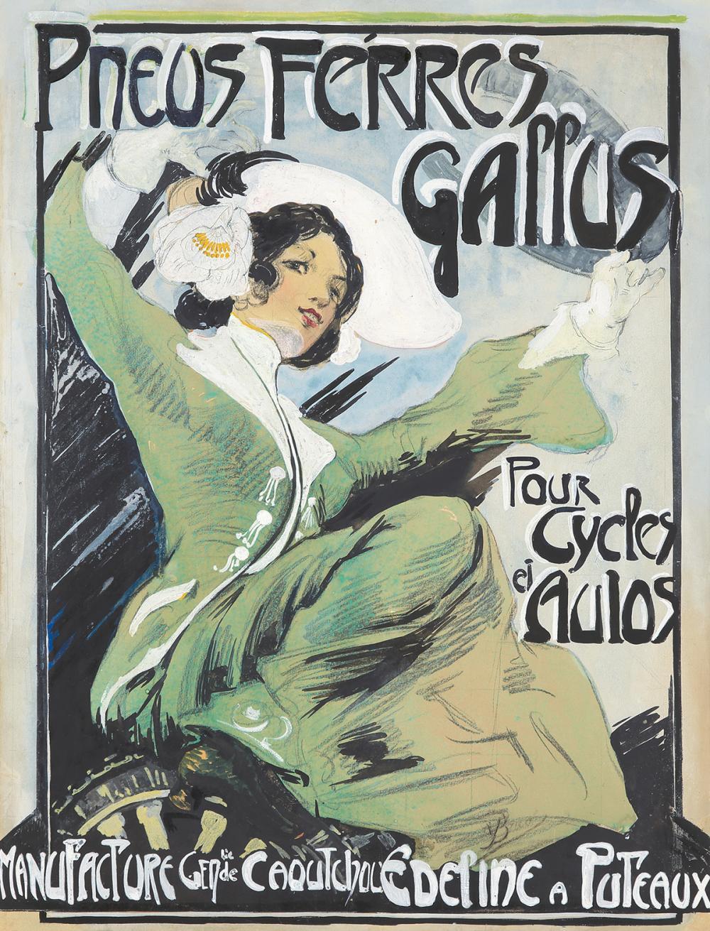 Pneus Férres Gallus : Maquette. ca. 1900.