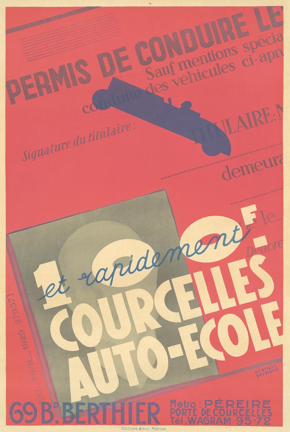 Courcelles Auto-Ecole. 1929.