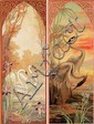 Swan & Heron Panels. ca. 1905