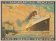 Transatlantique-French Line / Paris-Havre-New York. 1922