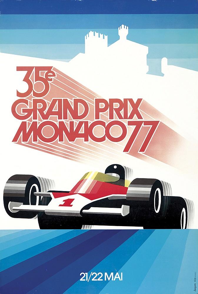 12 Monaco Grand Prix Posters. 1977-1988