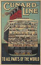 Cunard Line / To All Parts of the World. ca. 1914