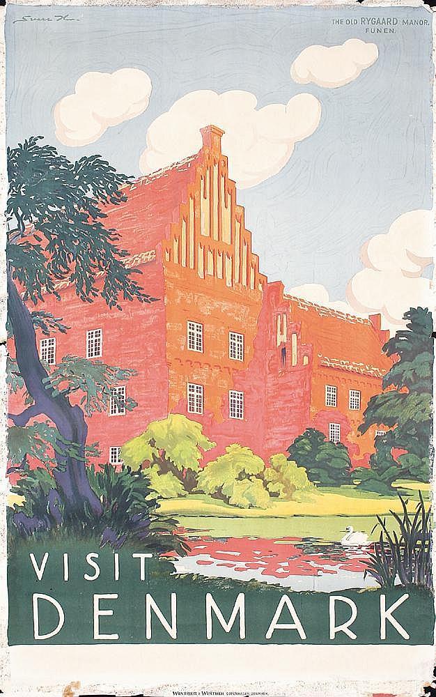 Original 1930s Denmark Travel Poster HENRIKSEN
