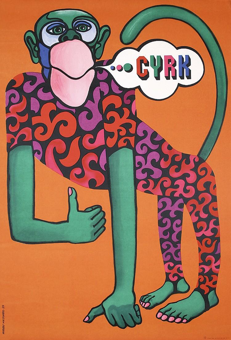 Original 1970s Polish Circus Poster HILSCHER Monkey CYR