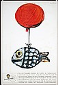 Original 1960s CITROEN Auto Advertising Poster FISH