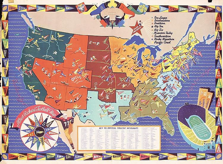 S Albert Richard College Football Map Poster - Us college map poster