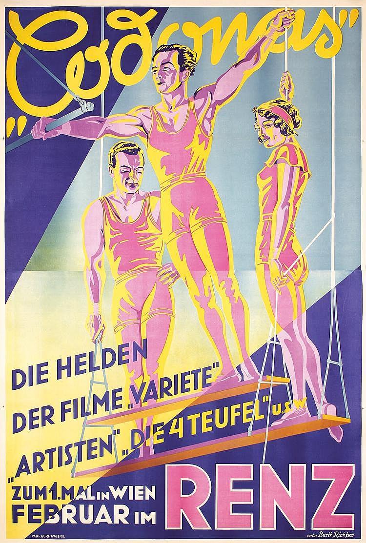 RARE HUGE Original 1930s CODONAS Trapeze Circus Poster