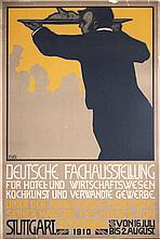 RARE Original 1910 German Hotel Restaurant Expo Poster