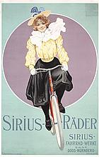 RARE Original 1890s/1900s Art Nouveau Bicycle Poster