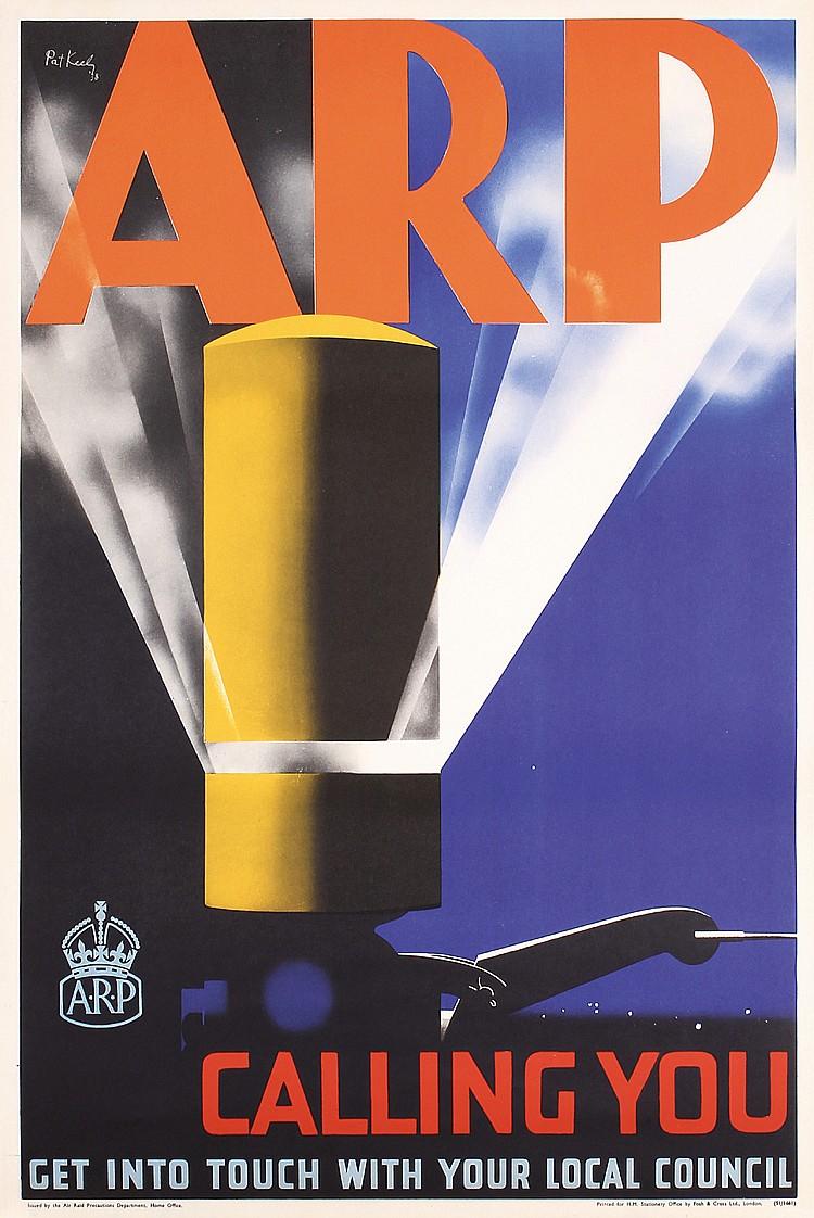 Old Original 1930s ARP Propaganda Poster Keely GRAPHICS