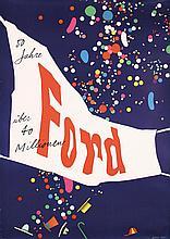 RARE ORIGINAL 1950s Herbert Leupin Swiss FORD Poster
