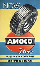 Great Original 1940s/50s Amoco Tire Advertising Poster
