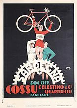 Original 1930s Itallian Sardegna Bicycle Poster MAGA