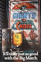 Original 1977 SUBER BOWL Beer Poster Giants vs Chiefs