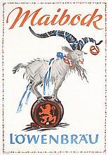 Original 1950s Löwenbräu Buck Beer Poster