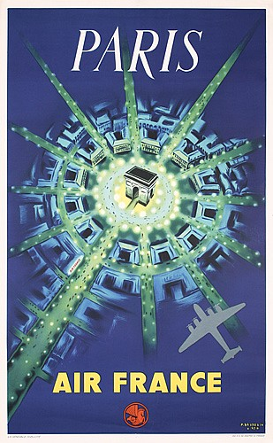 Original 1940s Air France Paris Poster Plakat Baudouin