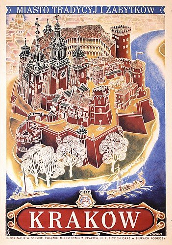 Original 1930s Polish Travel Poster Plakat Krakow