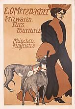 Rare Original 1900s Deco Woman Dog Fur Poster Plakat