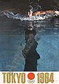 Old 1964 Tokyo Olympic Games Poster Swimming, Yusaku Kamekura, Click for value