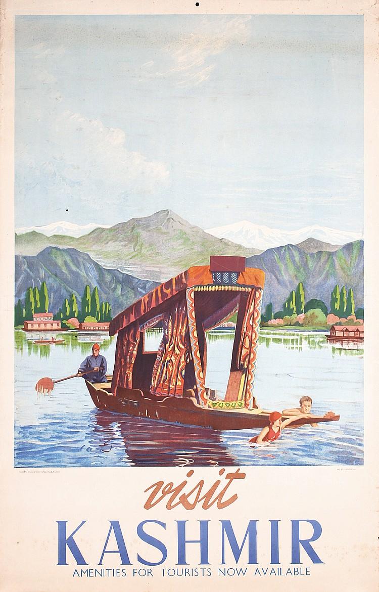 Beautiful Old Original 1940s Kashmir Travel Tourism Poster