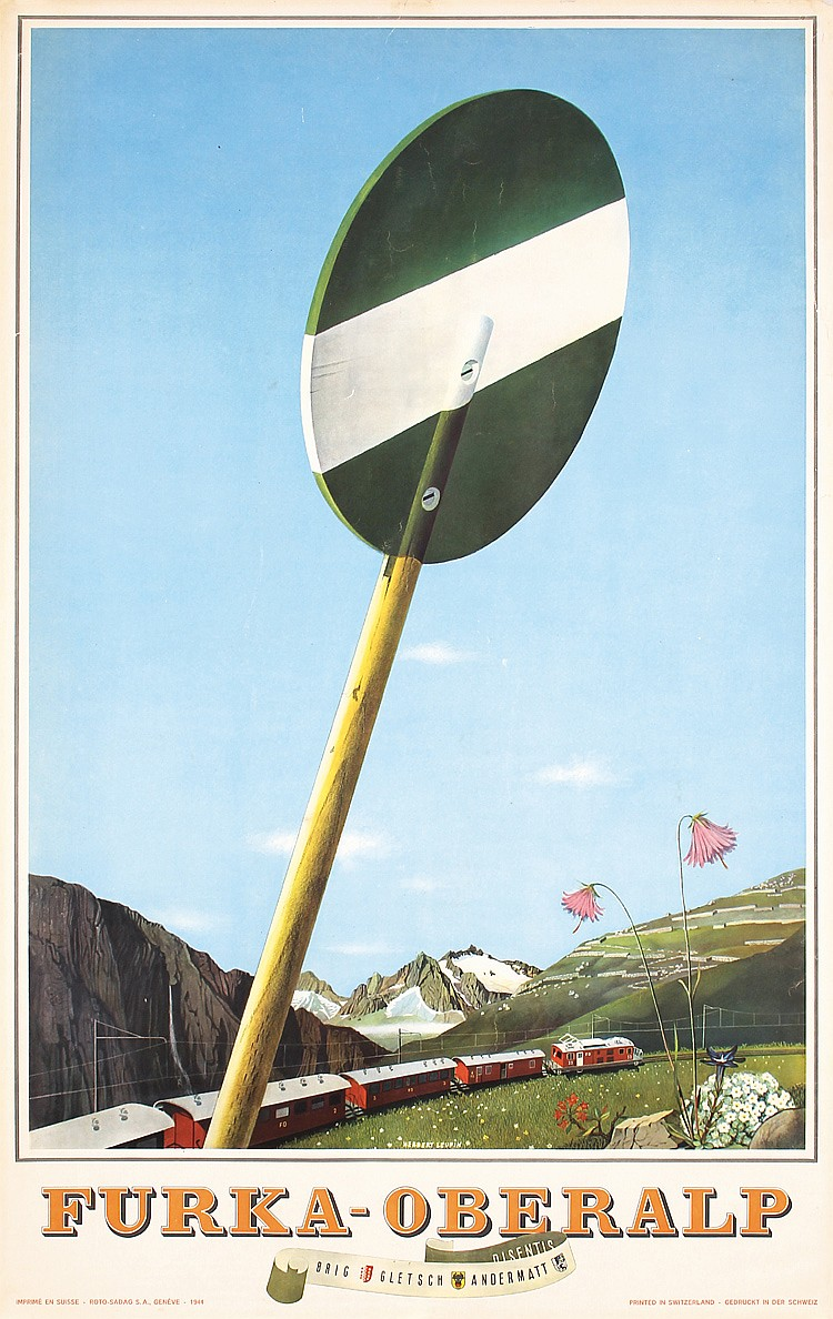 Original 1940s LEUPIN Swiss Travel Poster Furkalp