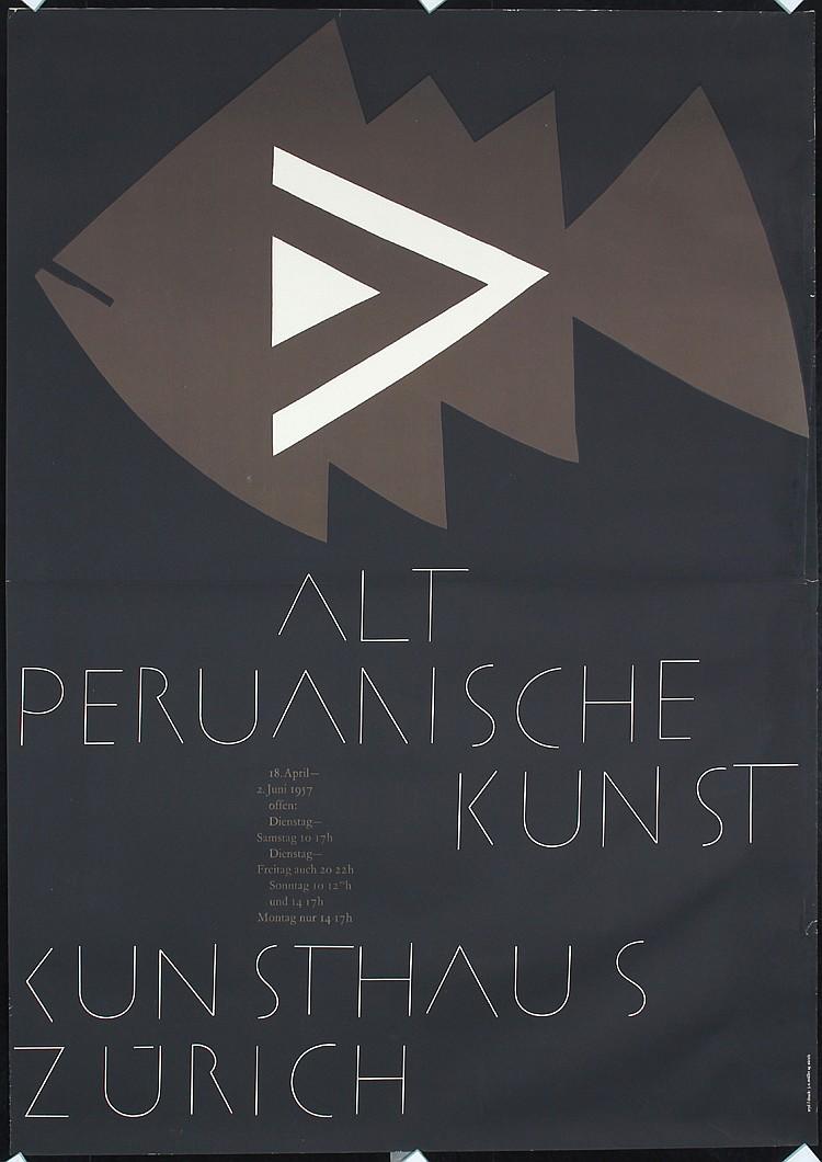 Original 1950s Swiss Modern Art Poster PERU Zryd Design