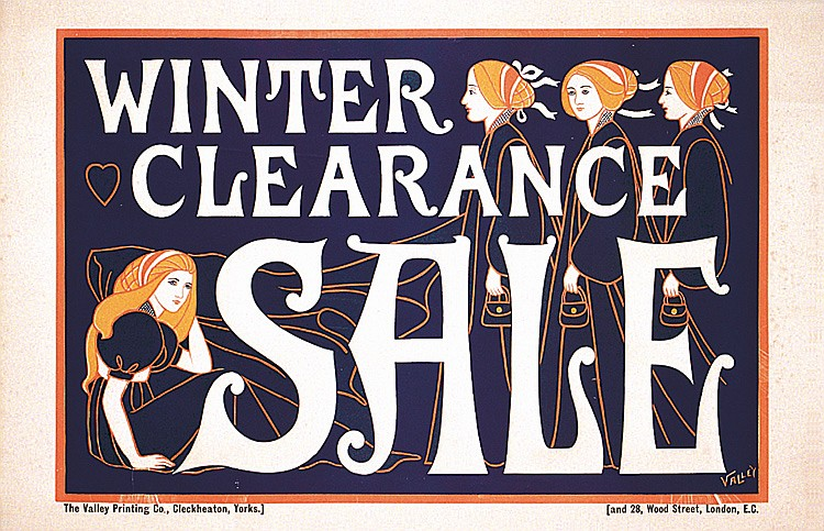 Beautiful Old British Poster Winter Clearance Sale 1900