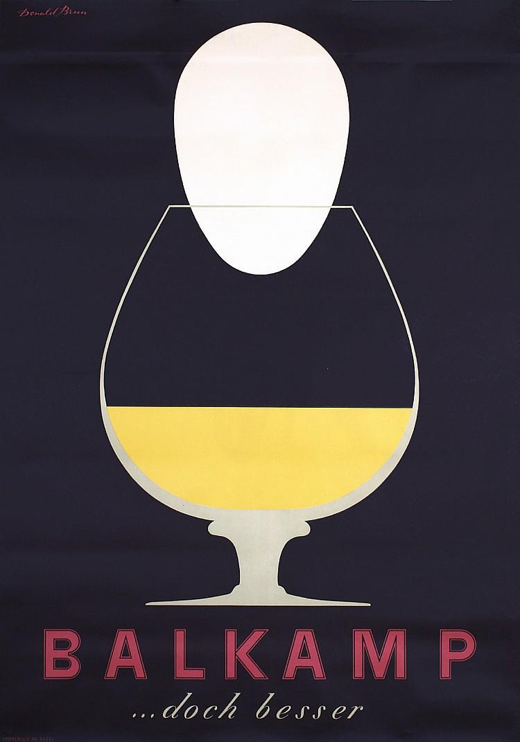 Original 1950s Swiss Liquor Poster DONALD BRUN Design