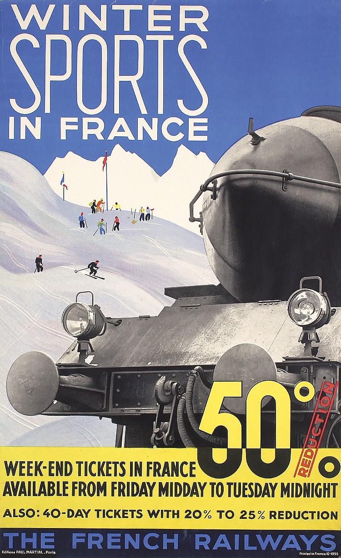 Original 1930s French Winter Sports Rail Travel Poster