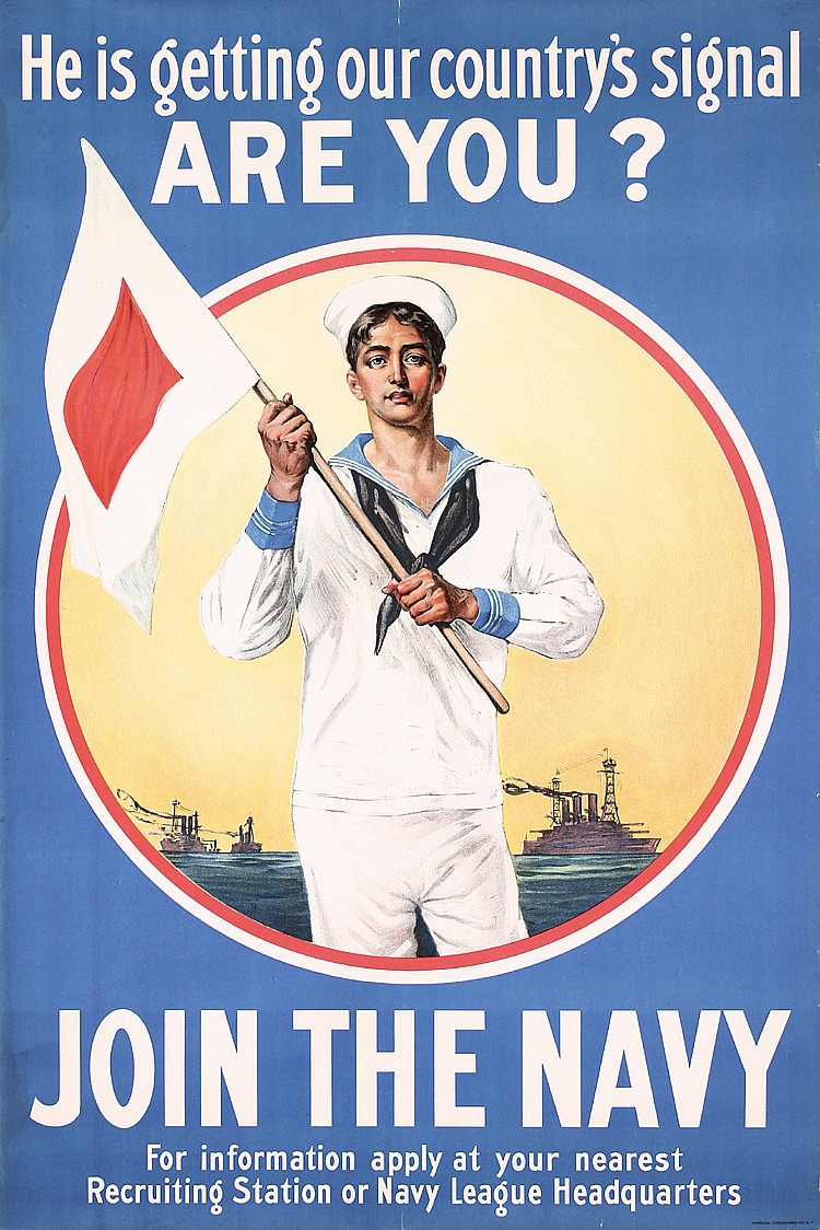 RARE Original American World War I NAVY Poster