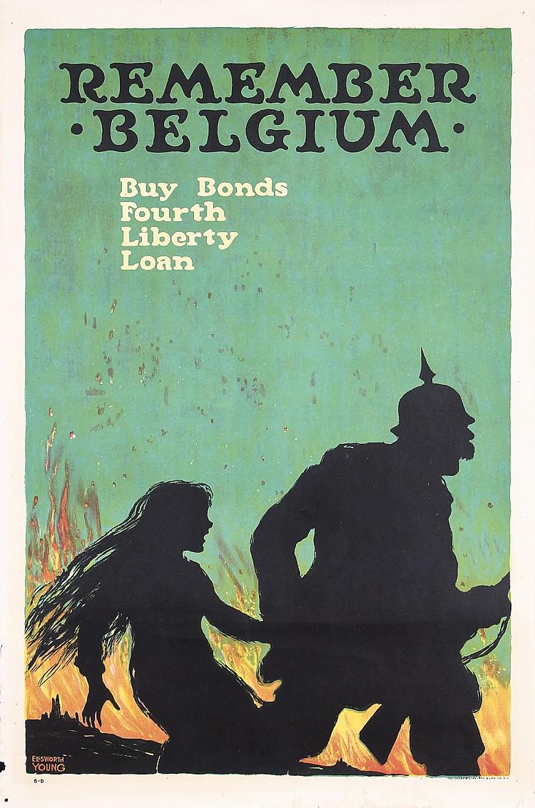 Original American World War I Poster REMEMBER BELGIUM