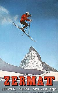 Stunning Original Zermatt Swiss Travel Ski Poster 1960s