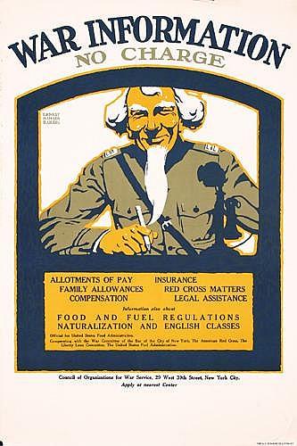 2 Original US World War I Posters Uncle Sam War Info