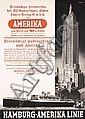 Rare 1930s Hamburg America Line Travel Poster New York, Paul Theodore Etbauer, Click for value