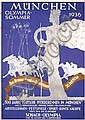 Rare Original 1936 Munich Olympic Summer Poster Plakat, Ludwig Lutz Ehrenberger, Click for value