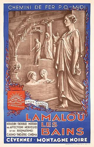 Original French Bath Travel Poster 1930s