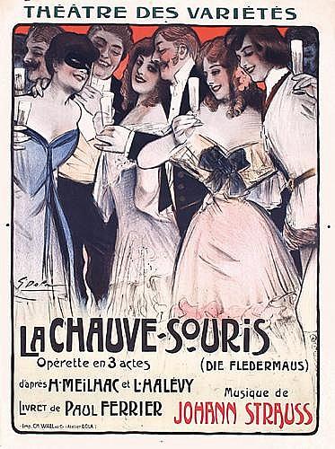 Original 1900s French Opera Poster Dola Chauve Souris