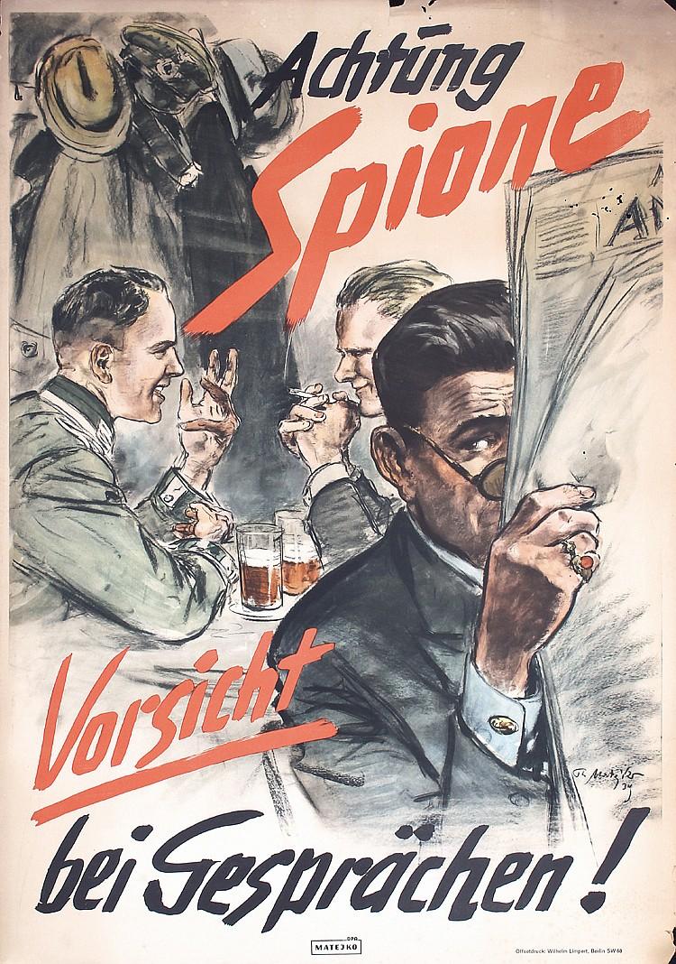 ORIGINAL 1939 German World War II Propaganda Poster SPIES